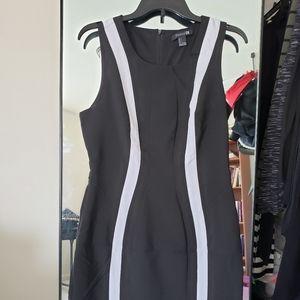 Forever 21 L mod ska punk black dress white stripe